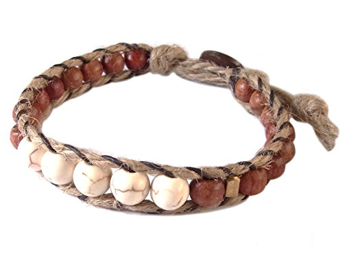 Thai Asian Fashion Handmade Bracelet Hemp String Brass Wood Beads Howlite Brown Gold White