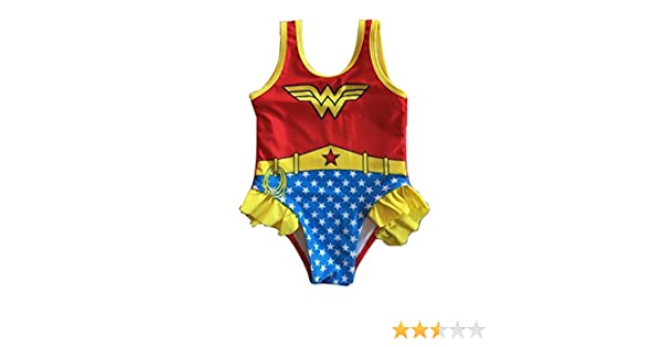 677cf86897 Amazon.com  L C Boutique Little Girls Ruffle Wonder Woman One Piece  Swimsuit in Sizes 2T to 5T  Clothing