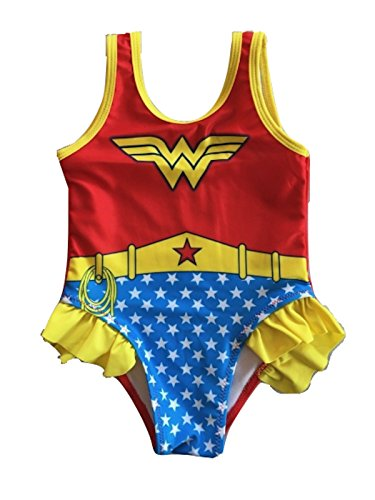 L C Boutique Little Girls Ruffle Wonder Woman One Piece Swimsuit in Sizes 2T to 5T from L C Boutique