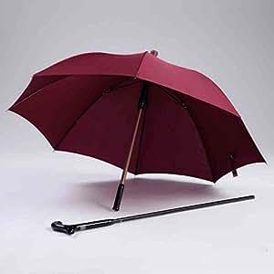 Long Handle High Multi-Function Old Man Umbrella Umbrella Folding Umbrella Double Anti-Slip Bold Reinforcement Outdoor Huhero (Color : Red)