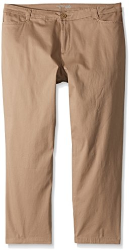 (Riders by Lee Indigo Women's Plus Size Straight Leg Casual Twill Pant, Desert Taupe, 22W Petite )