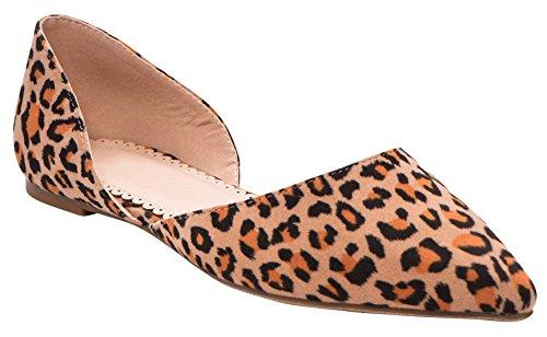 Cambridge Utvalgte Kvinner Lukket Spiss Tå Slip-on Dorsay Ballett Flat Leopard Imsu