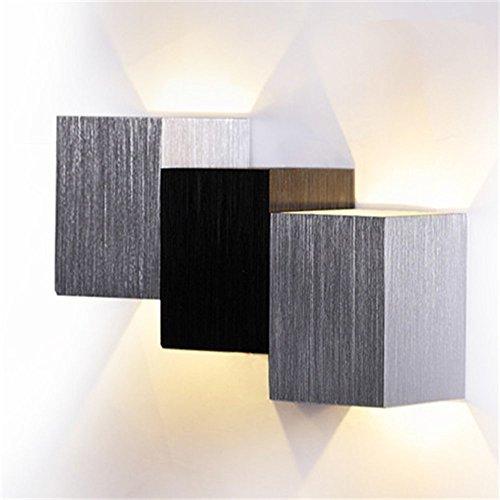 AGPtek moderne 3W LED Square Wall Lamp Veranda Gehweg Wohnzimmer Licht im Flur Schlafzimmer Licht Leuchte