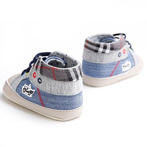 Zapato bebé Zapatos para bebé que aprende caminar 0-18 meses Zapato de lona cómodo para bebé Suela antideslizante Luerme Azul