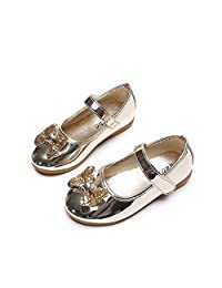 Girls Toddler Kids Bowknot Shiny Mary Janes Ballet Flats Wedding Princess Dress Shoes