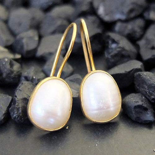 Ancient Design Jewelry Handmade Designer Pearl Dangle Earring 22K Gold Over 925K Sterling Silver ()