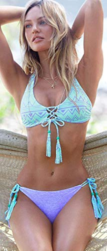 Qiusa Bikini Da Tre M A Punti Dimensione M Bagno Costume Con Blu colore Stampa Righe ppqwrSHxZ