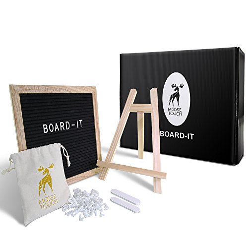 Solid Oak Pack (MooseTouch Board-It - Felt Letter Board GIFT PACK: Black 10x10 Inches Changeable Letter Board with REAL Solid Oak Frame, Elegant Wooden Easel, 346 White Plastic Characters, Canvas Bag and Files)