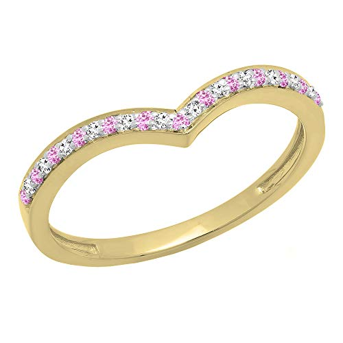 Dazzlingrock Collection 10K Pink Sapphire & White Diamond Wedding Stackable Band Guard Chevron Ring, Yellow Gold, Size 6
