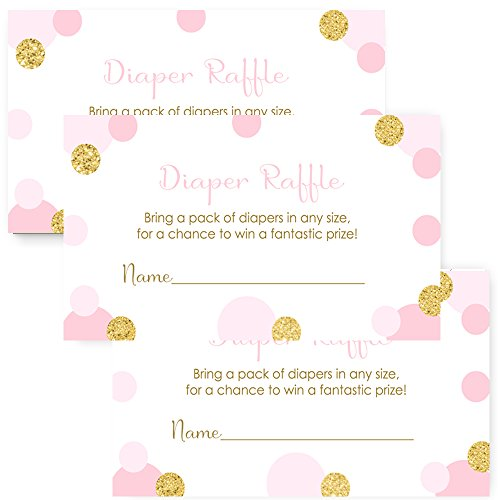 Pink and Gold Baby Shower Diaper Raffle for Girls - Invite Insert Card - Set of 25