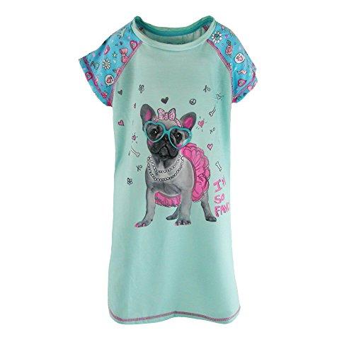 Night Mint - Rene Rofe Girl's I'm So Fancy Puppy Pajama Night Shirt, XL, Mint Candy