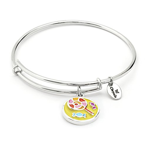 Expandable Colorful Cute Thin Adjustable Charm Bangle Bracelet for Girls, Kids Gift, Silver -