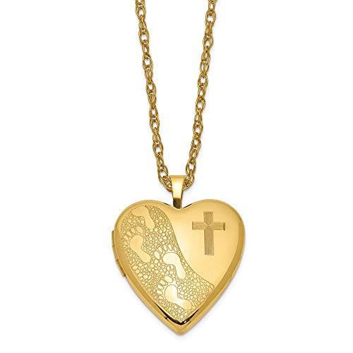 1/20 Gold Filled 20mm Cross & Footprint Heart Locket Pendant with 18