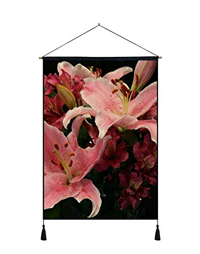 (PUPBEAMO PRINTS Wall Art Scroll Poster - Lilies alstroemeria Flowers Bouquet - Art Print On Canvas Wall Hanging Picture for Home Decoration 24x32 Inches)
