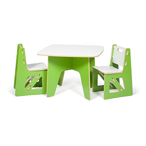 Kids Table and 2 Chairs, Green and White