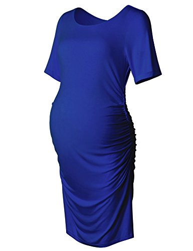 Maternity Bodycon Dress Short Sleeve Ruched Sides Knee Length Dress Royal Blue L