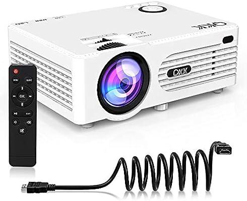 QKK Proyector LED Portátil Full HD 1080P Apoyo 2600 LUX Proyector ...