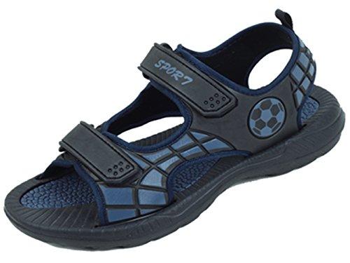 SV S5704 Men's Sport Sandals Adjustable Strap Open Toe Waterproof Casual Beach Walking Hiking Black/Navy Shoes (8 D(M) US, Black)