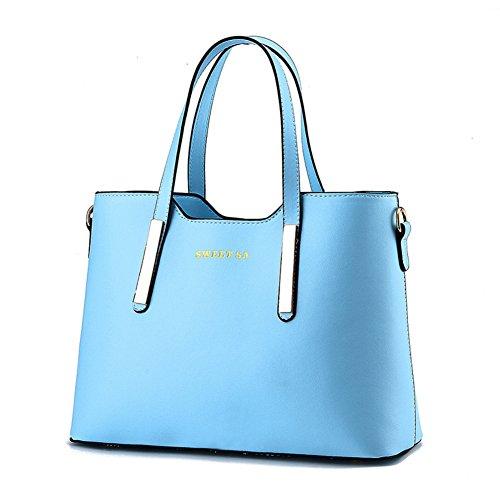 Women's PU Leather Shoulder Bags Top-Handle Handbag Tote Bag Fashion Cross Body Bag XMLiZhiGu Light Blue