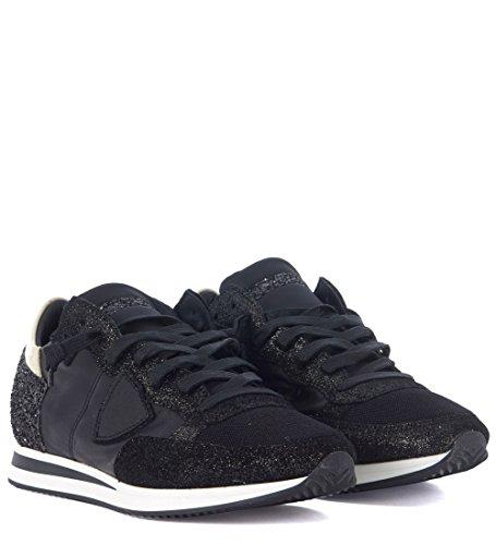Sneakers Modello Philippe Tropez In Pelle E Glitter Nero Nero