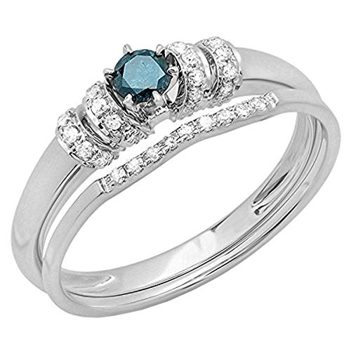 (0.30 Carat (cttw) Round Blue and White Diamond Bridal Engagement Ring Set, 10K White Gold, Size 7)