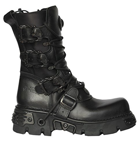 NEWROCK New Rock M.391-S18 Black Metallic Punk Reactor Goth Biker Unisex Boots