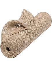 "Natural Jute Fabric Burlap Ribbon - 12"" x 10 Yards, Loose Weave Burlap, Thanksgiving, Christmas Tree Ribbon for Crafts, Rustic Wedding Embellishments, Table Runner, Wrap, Wreath, Garland, Swag"