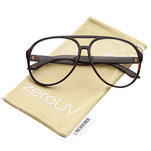 zeroUV - Retro Flat Top Teardrop Shaped Clear Lens Aviator Sunglasses 59mm (Tortoise / - Spectacles Retro