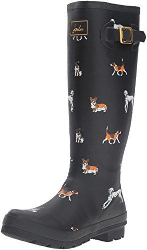 Joules Womens Welly Print Rain Boot Black Dog NzJxS