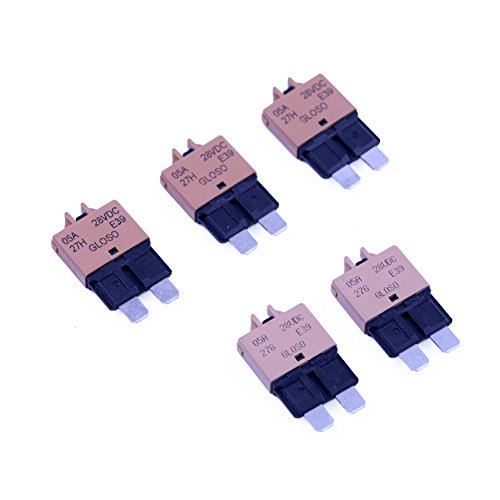 T Tocas 5 Amp 5pcs Manual Reset Low Profile ATC Circuit Breakers 12V - 28VDC (5A)