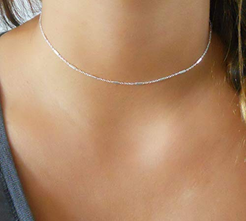 (Handmade Silver Choker Necklace For Women - 925 Sterling Silver Chain With Tiny)