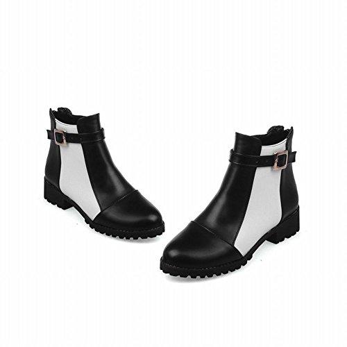 Latasa Womens Fashion Low Chunky Heels Ankle Jodhpur Boots With Back Zipper black toe S6CfyZq