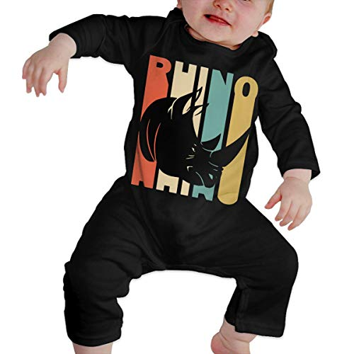 Baby Boys Girls Retro Style Rhino Silhouette Long Sleeve Romper Jumpsuit, Printed Cotton Bodysuit Outfits Clothes Black]()