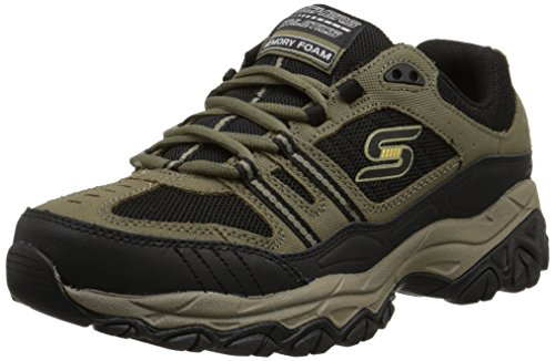 Skechers Sport Men's Afterburn Strike Memory Foam Lace-Up Sneaker,Pebble/Black,13 4E US