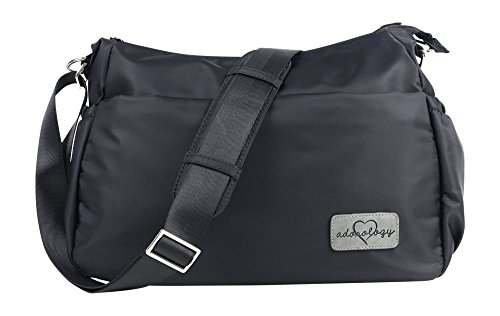 Purse Diaper Bag in Black Nylon with Matching Changing Pad Stroller Straps Premium Zippers 11 Pockets Insulated for Baby Bottles Crossbody Silver Tone Hardware Spacious Perfect for Moms on The Go