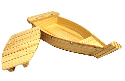100% Natural Bamboo Wooden Sushi Tray Serving Boat Plate for Home or Restaurant - Japanese Sushi Boat (16.5