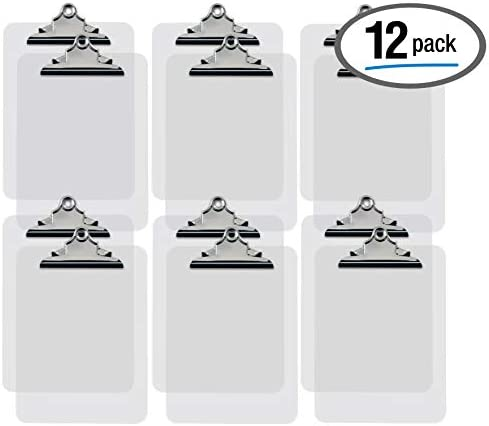 Clear Plastic Clipboards, 12 Pack, Durable, 12.5 x 9 Inch, Standard Metal Clip, by Better Office Products, Transparent, See-Through Clear, Set of 12