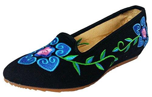 SMITHROAD Damen/Mädchen Slipper Mary Jane Halbschuhe mit Blumen Stickmuster Sandalen Schlupf Viele Faben Gr.34-41 06 Schwarz