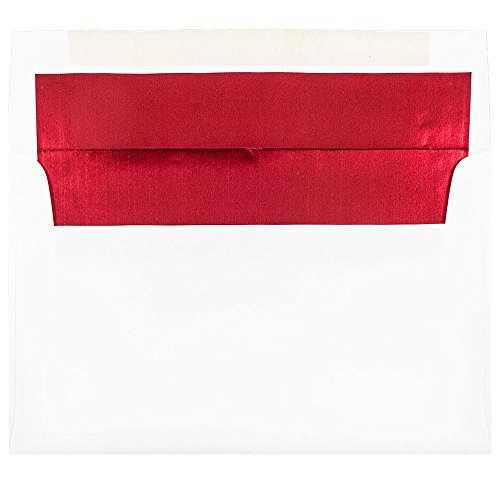 - JAM PAPER A10 Foil Lined Invitation Envelopes - 6 x 9 1/2 - White with Red Foil - 25/Pack