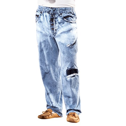 Mens Faux Denim Soft Cotton Lounge Pant - Drawstring Waistband for Great Fit, Blue, Large