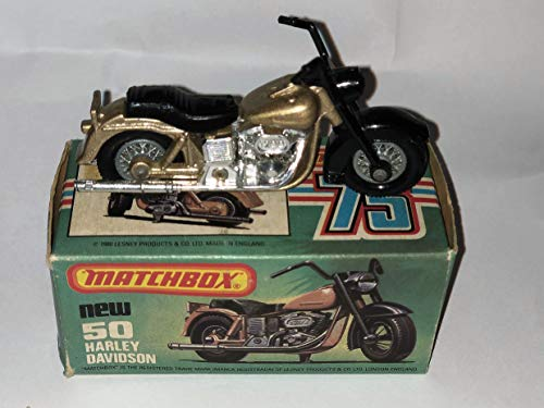 1980 MATCHBOX NO.50 HARLEY DAVIDSON MOTORCYCLE. THIS MOTORCYCLE IS BLACK & GOLD WITH BOX