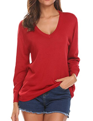 Red Pullover Sweater - UNibelle Women's  Loose V-Neck Pullover Sweatershirt Long Sleeve Knitted Tops,Red,X-Large