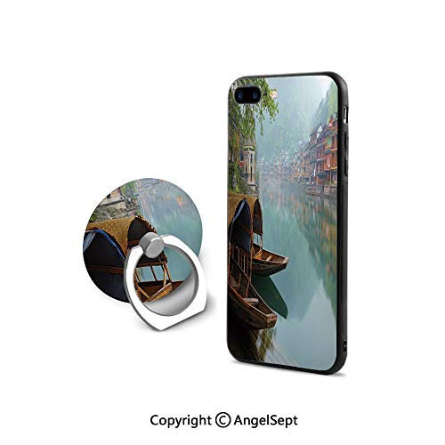 Protective Case for iPhone 8/iPhone 7 with Ring Holder Kickstand,Antique Town Misty Mountains Houses Waterside Boats Scenic View,Retail - Waterside Stripe
