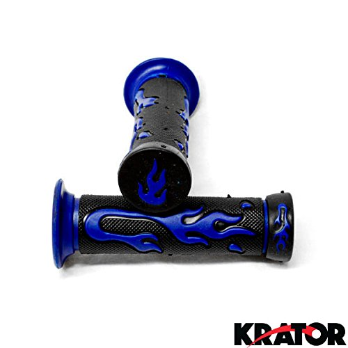 Krator ATVs and WATERCRAFTS Flame Gel Style Hand Grips BLUE COLOR QUAD YAMAHA POLARIS SEADOO WATERCRAFT BOMBARDIER JET SKI HONDA FOREMAN RECON Kawasaki Brute Force Prairie BRUIN GRIZZLY KODIAK