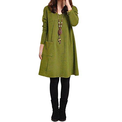 (Romacci Women Casual Pocket Dress Long Sleeve Knee Length Spring Winter Loose Tunic T Shirt Dress Green )