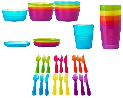 Ikea 42 Pcs Kalas Kids Plastic BPA Free Flatware, Bowl, Plate, Tumbler Set, Colorful