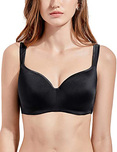 Lined Bra T-shirt Lightly (DELIMIRA Women's Full Figure Side Support Contour Smooth T-Shirt Underwire Bra Black 40E)