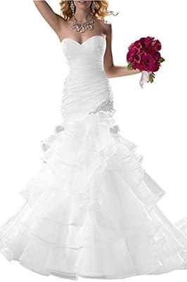 JOYNO BRIDE Sweetheart Ruffle Organza Mermaid Wedding Dresses Bridal Gowns