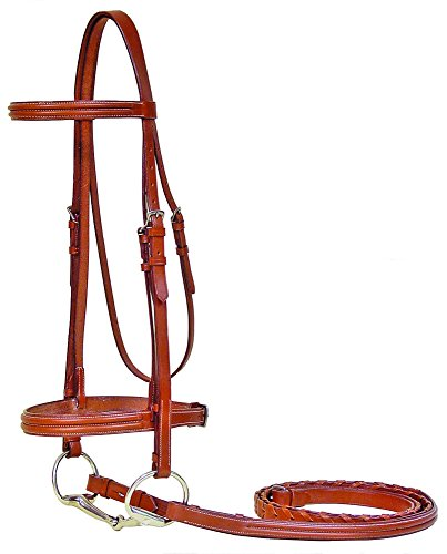 Paris Tack Triple Stitch Bridle with Laced Reins, Chestnut, Full