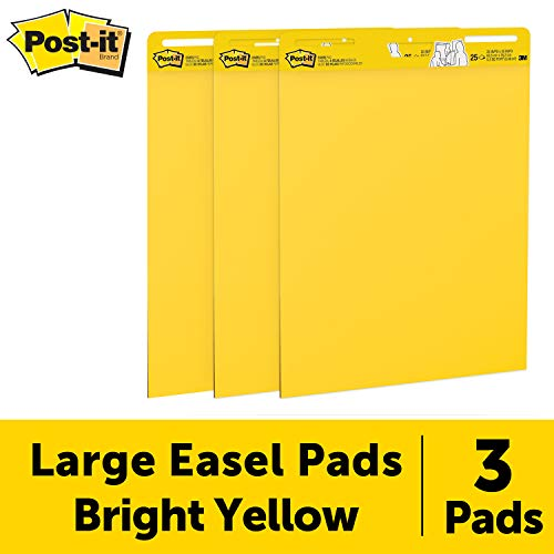 Post-it Super Sticky Easel Pad, 25 x 30 Inches, 25 Sheets/Pad, 3 Pads (559YW-3PK), Large Bright Yellow Premium Self Stick Flip Chart Paper, Super Sticking Power ()